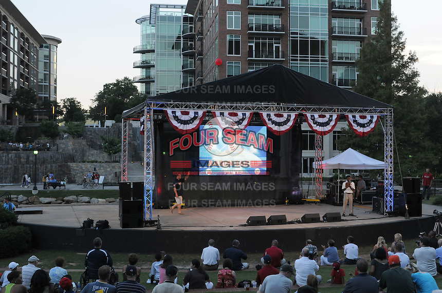 Aaron Baker of the West Virginia Power is introduced at the 2010 South Atlantic League All-Star Game welcome party and festivities Monday night June 21, 2010, at the Wyche Pavilion along the Reedy River in Greenville, S.C. Photo by: Tom Priddy/Four Seam Images