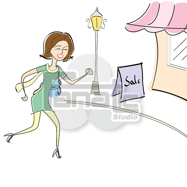 Woman running for shopping in a sale