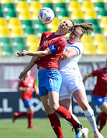 20190301 - LARNACA , CYPRUS : Finnish Elli Pikkujamsa (r) pictured in a duel with Czech Lucie Vonkova (left) during a women's soccer game between Finland and Czech Republic , on Friday 1 March 2019 at the AEK Arena in Larnaca , Cyprus . This is the second game in group A for Both teams during the Cyprus Womens Cup 2019 , a prestigious women soccer tournament as a preparation on the Uefa Women's Euro 2021 qualification duels. PHOTO SPORTPIX.BE | DAVID CATRY