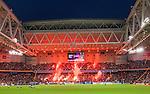 Stockholm 2015-08-24 Fotboll Allsvenskan Djurg&aring;rdens IF - Hammarby IF :  <br /> Djurg&aring;rdens supportrar eldar med bengaler inf&ouml;r den andra halvleken av matchen mellan Djurg&aring;rdens IF och Hammarby IF <br /> (Foto: Kenta J&ouml;nsson) Nyckelord:  Fotboll Allsvenskan Djurg&aring;rden DIF Tele2 Arena Hammarby HIF Bajen inomhus interi&ouml;r interior supporter fans publik supporters r&ouml;k bengal bengaler