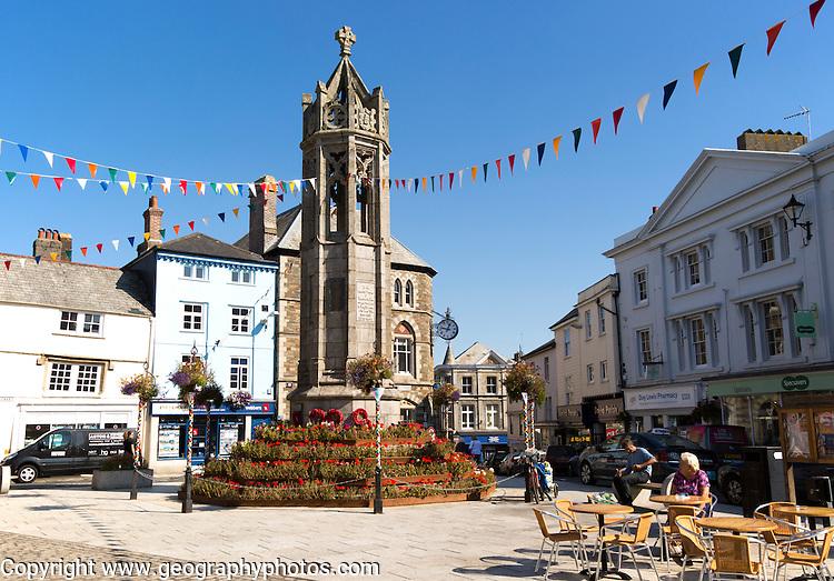 War memorial in market square, Launceston, Cornwall, England, UK