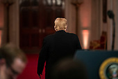 United States President Donald J. Trump departs after a news conference in the East Room, on Wednesday, Nov. 7, 2018 at the White House in Washington, D.C. <br /> Credit: Al Drago / Pool via CNP