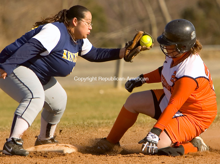 WATERTOWN, CT--10 APRIL 2007--041007JS10-Watertown's Amanda Caouette slides safely into third, with a two-run triple, in front of the tag by Kennedy's Christina Col&oacute;n during their 20-0 win over Kennedy High School Tuesday at Watertown High School. <br /> Jim Shannon / Republican-American
