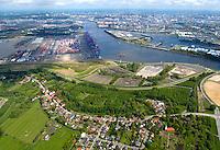 Moorburg:EUROPA, DEUTSCHLAND, HAMBURG, MOORBURG 21.05.2005: Moorburg, Altenwerder, Hafenerweiterung, Hamburg im Hintergrund, CTA, Container Terminal Altenwerde, Suederelbe,  Luftbild