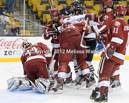 Steve Michalek (Harvard - 34), Ryan Grimshaw (Harvard - 6), David Valek (Harvard - 22), Ludwig Karlsson (Northeastern - 45), Vinny Saponari (Northeastern - 74) - The Harvard University Crimson defeated the Northeastern University Huskies 3-2 in the 2012 Beanpot consolation game on Monday, February 13, 2012, at TD Garden in Boston, Massachusetts.