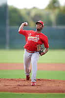 GCL Cardinals relief pitcher Franyel Casadilla (47) during the first game of a doubleheader against the GCL Marlins on August 13, 2016 at Roger Dean Complex in Jupiter, Florida.  GCL Cardinals defeated GCL Marlins 4-2 in a continuation of a game originally started on August 8th.  (Mike Janes/Four Seam Images)