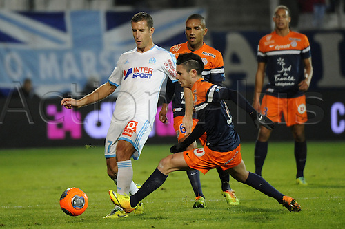 29.11.2013. Marseilles, France. French League 1 football. Marseilles versus Montpellier.  Cheyrou (OM) - Cabella (MHSC)