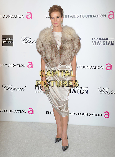 Rachel Griffiths.The 21st Annual Elton John AIDS Foundation Academy Awards Viewing Party held at The City of West Hollywood Park in West Hollywood, California, USA..February 24th, 2013.oscars full length beige cream silk satin dress brown fur wrap .CAP/DVS.©DVS/Capital Pictures.