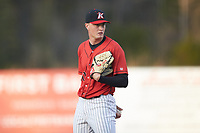 Kannapolis Intimidators starting pitcher Kade McClure (30) looks to his catcher for the sign against the Lakewood BlueClaws at Kannapolis Intimidators Stadium on April 5, 2018 in Kannapolis, North Carolina.  The Intimidators defeated the BlueClaws 4-3.  (Brian Westerholt/Four Seam Images)