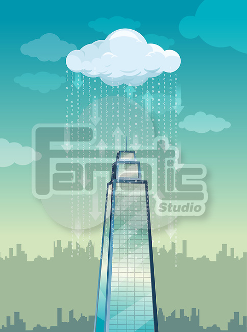 Illustrative image of rain on tower representing cloud computing