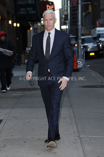 WWW.ACEPIXS.COM <br /> January 13, 2015 New York City<br /> <br /> Anderson Cooper tapes an appearance on the Late Show with David Letterman on January 13, 2015 in New York City.<br /> <br /> Please byline: Kristin Callahan/ACE Pictures  <br /> <br /> ACEPIXS.COM<br /> Ace Pictures, Inc<br /> tel: (212) 243 8787 or (646) 769 0430<br /> e-mail: info@acepixs.com<br /> web: http://www.acepixs.com