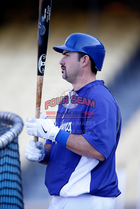 Adrian Gonzalez #23 of the Los Angeles Dodgers before a game against the St.Louis Cardinals at Dodger Stadium on September 13, 2012 in Los Angeles, California. St.Louis defeated Los Angeles 2-1. (Larry Goren/Four Seam Images)