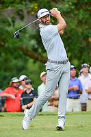 Dustin Johnson (USA) watches his tee shot on 5 during Friday's round 2 of the PGA Championship at the Quail Hollow Club in Charlotte, North Carolina. 8/11/2017.<br /> Picture: Golffile | Ken Murray<br /> <br /> <br /> All photo usage must carry mandatory copyright credit (&copy; Golffile | Ken Murray)