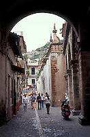 The calle del Arco in the Spanish colonial town of Taxco, Guerrero, Mexico