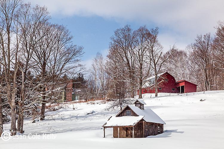 A maple sugar house in Peacham, Vermont, USA