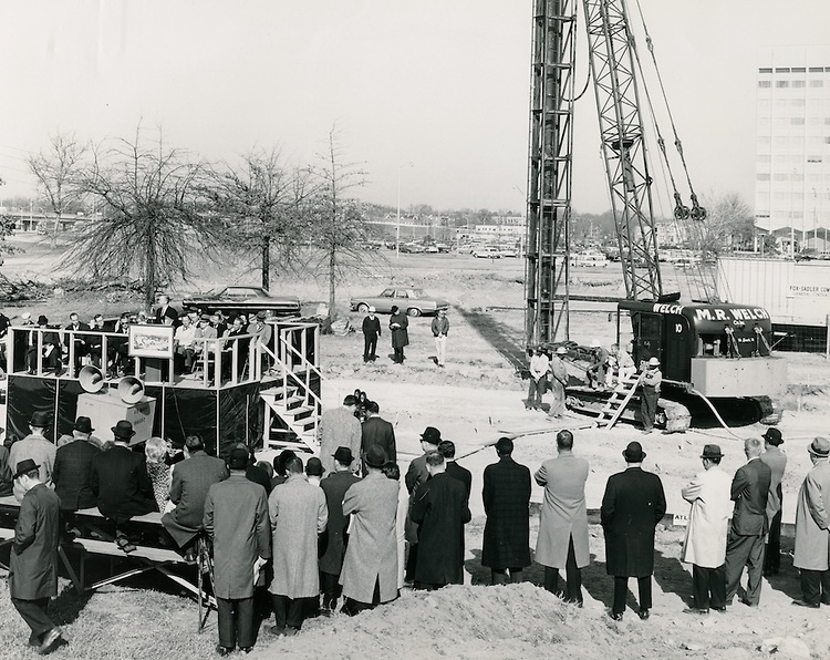 1965 December 02..Redevelopment.Atlantic City (R-1)..Tidewater Rehabilition Institute.Pile Driving Ceremony..Dr. Mason Andrews front row on far right of stage..Frank Saldana.NEG#.NRHA#..