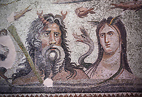 Roman Mosaic - close up of  Oceanos and his wife Tethys. The Oceanos &amp; Tethys Mosaic, fom The House of Oceanos, Zeugma.  2nd - 3rd century AD. Zeugma Mosaic Museum, Gaziantep, Turkey.<br /> <br /> The Oceanos and Tethys Mosaic is the floor mosaic of the shallow pool of the House of Oceanos. In this mosaic, which belongs to the Early Roman Empire Period, Oceanos, the river god who is the origin of life, and his wife Tethys are represented. At the middle of the mosaic which is surrounded by a geometric triple tress borders there are Oceanos and his wife Tethys. Around them there are Eros figures riding various species of fish and dolphins symbolising the abundance of the sea. The most represented attributes of Oceanos are snake and fish.<br /> <br />  in the mosaic, Oceanos is seen with chelas. Those chelas are among his most characteristic attributes. Though the tail of an eel is represented as his feet in the figures on ceramics, within the scope of the art of mosaic he is represented as a bust and only with the chelas on his head such as this one. His wife Tethys is right by his side and represented with wings upon her forehead. Between them, there is the dragon called Cetos which is a mythological sea creature. As is seen in the coins of Zeugma, the Euphrates River is expressed as a dragon. Besides these two figures, on the top-right of the mosaic, there is a young male figure which is thought to be Pan, the patron of fishermen and shepherds. The fact that Eros figures and Pan which are the side figures are located outward implies that the pool is built to allow walking around. <br /> <br /> The expression of the Oceanos as not an ocean but a river surrounding the world: By that the water, which vapours with the heat of the sun and then gives life to the nature by becoming rain, and which after being used by the nature reaches again the sea via the rivers is expressed. The water becomes aware of itself and its function by that cycle. This phenomenon is represented in the mosaic panel as the diversif