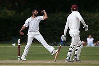 Jahansher Akbar in bowling action for Wanstead during Brentwood CC vs Wanstead and Snaresbrook CC, Essex Cricket League Cricket at The Old County Ground on 12th September 2020