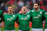 Ireland U20 players sing the national anthem. World Rugby U20 Championship match between New Zealand U20 and Ireland U20 on June 11, 2016 at the Manchester City Academy Stadium in Manchester, England. Photo by: Patrick Khachfe / Onside Images