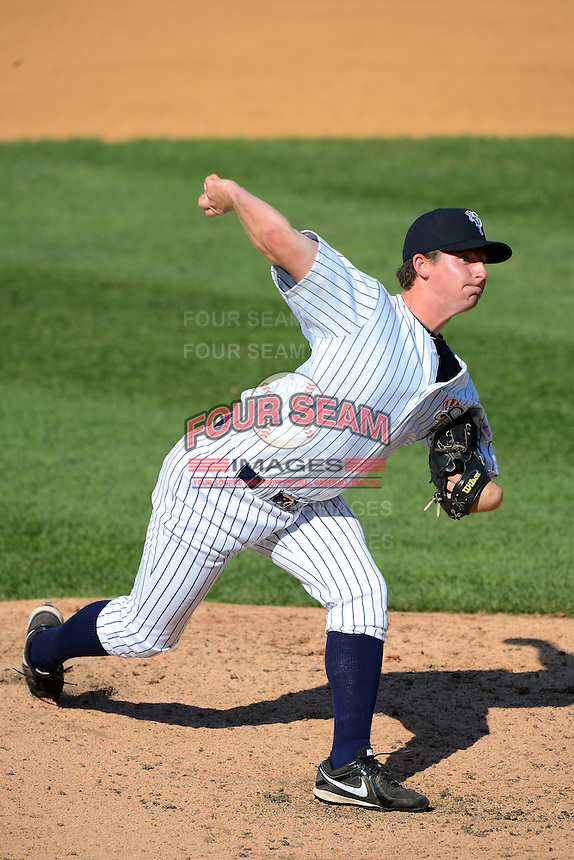 Staten Island Yankees pitcher Sam Agnew-Wieland #34 during a game against the Connecticut Tigers on July 7, 2013 at Richmond County Bank Ballpark in Staten Island, New York.  Staten Island defeated Connecticut 6-2.  (Mike Janes/Four Seam Images)