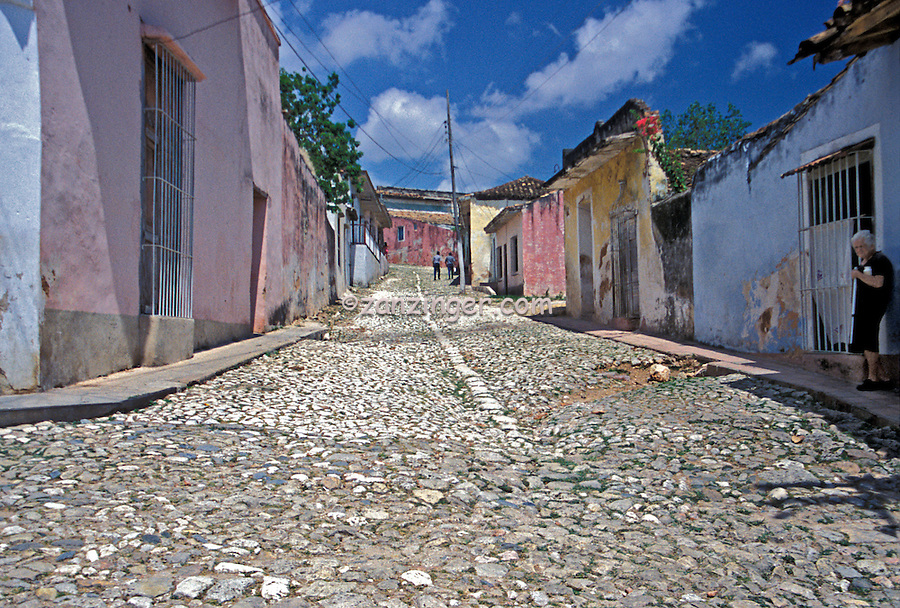 Cobblestone Street, Colorful Houses, Trinidad Cuba, Republic of Cuba,
