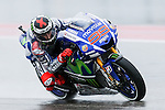 Jorge Lorenzo (99) in action during the first practice session of the Red Bull Grand Prix of the Americas race at the Circuit of the Americas racetrack in Austin,Texas.