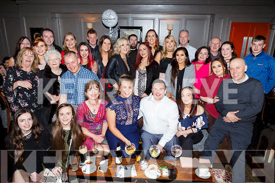 Jillian Carroll and Alan Hill, seated front centre, celebrating their engagement with their family and friends in No 4 The Square on Saturday night. <br /> Seated l-r, Joe and Valerie Carroll, Jillian Carroll, Alan Hill, Patricia and David Hill.