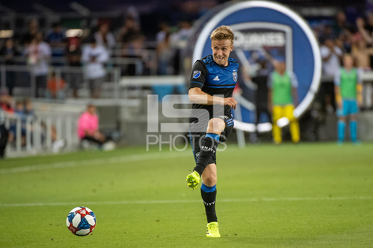 San Jose, CA - Saturday August 03, 2019: Tommy Thompson #22 in a Major League Soccer (MLS) match between the San Jose Earthquakes and the Columbus Crew at Avaya Stadium.