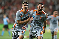 1st January 2020; Bankwest Stadium, Parramatta, New South Wales, Australia; Australian A League football, Western Sydney Wanderers versus Brisbane Roar; Brad Inman of Brisbane Roar celebrates with Jake McGing of Brisbane Roar after scoring to make it 2-1 in the 61st minute - Editorial Use