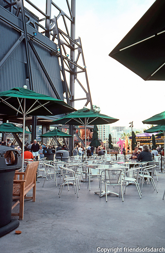 Ballparks: San Francisco Pacific Bell Park. The restaurant terrace behind score board.