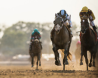 ELMONT, NY - JUNE 10: Tapwrit #2 ridden by Jose Ortiz overtakes Irish War Cry #7 and Rajiv Maragh to win the Belmont Stakes at Belmont Park on June 10, 2017 in Elmont, New York. (Photo by Alex Evers/Eclipse Sportswire/Getty Images)