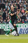 13.04.2019, Weserstadion, Bremen, GER, 1.FBL, Werder Bremen vs SC Freiburg<br /> <br /> DFL REGULATIONS PROHIBIT ANY USE OF PHOTOGRAPHS AS IMAGE SEQUENCES AND/OR QUASI-VIDEO.<br /> <br /> im Bild / picture shows<br /> Bibiana Steinheis (Schiedsrichterin / referee) weicht Max Kruse (Werder Bremen #10) aus, <br /> <br /> Foto &copy; nordphoto / Ewert