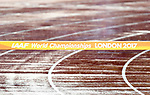 A wet rainy track with a steeplechase jump in the foreground. IAAF world athletics championships. London Olympic stadium. Queen Elizabeth Olympic park. Stratford. London. UK. 09/08/2017. ~ MANDATORY CREDIT Garry Bowden/SIPPA - NO UNAUTHORISED USE - +44 7837 394578