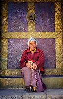 Punakha Valley, Bhutan 2008. Samteden, 82 year old nun-at Kamsun Yuly Namgyal Monastery, 2008