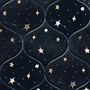 Astronomy, a waterjet stone mosaic, shown in Venetian honed Nero Marquina and Brass, is part of the Trove Collection.