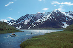 Alaska, Sea Kayakers, Kenai Fjords National Park, Pederson Lagoon, U.S.A..