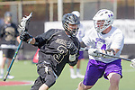 Orange, CA 05/16/15 - Jackson Marlow (Colorado #3) and Nolan Garman (Grand Canyon #14) in action during the 2015 MCLA Division I Championship game between Colorado and Grand Canyon, at Chapman University in Orange, California.