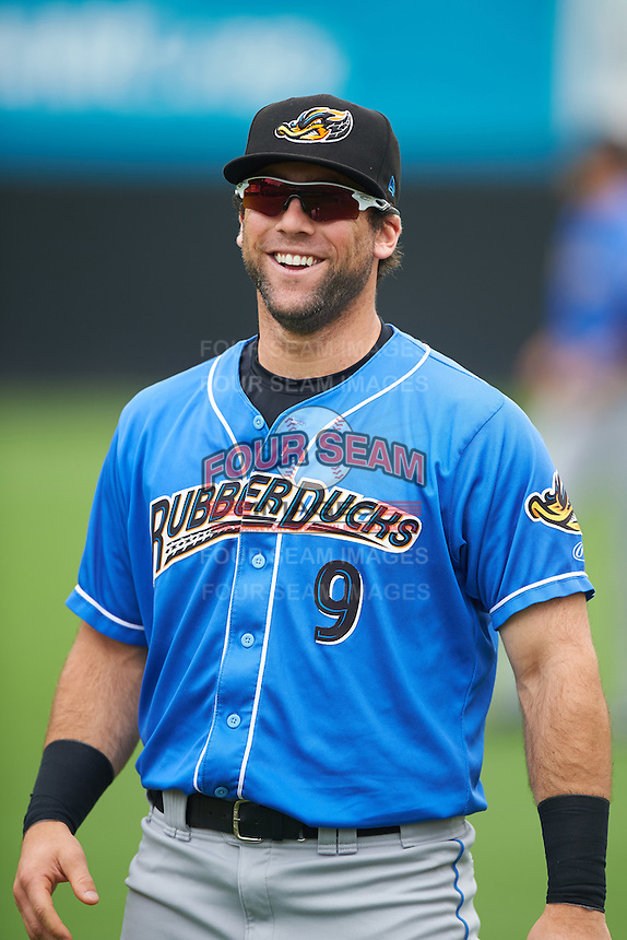 Akron RubberDucks third baseman Joe Sever (9) during warmups before the first game of a doubleheader against the Bowie Baysox on June 5, 2016 at Prince George's Stadium in Bowie, Maryland.  Bowie defeated Akron 6-0.  (Mike Janes/Four Seam Images)
