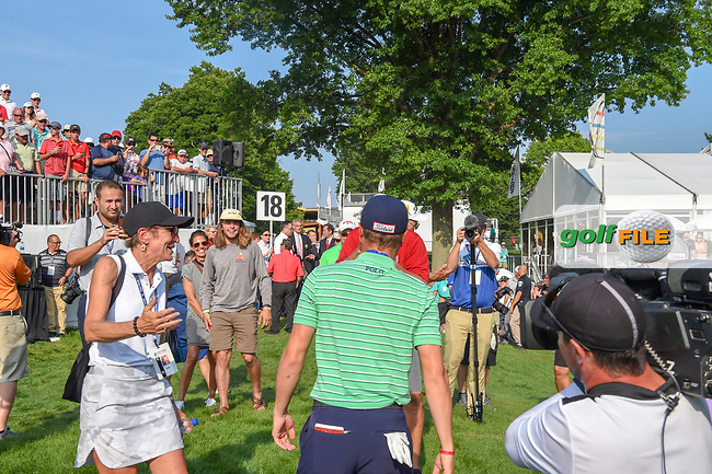 Justin Thomas (USA) is congratulated by family members following 4th round of the World Golf Championships - Bridgestone Invitational, at the Firestone Country Club, Akron, Ohio. 8/5/2018.<br /> Picture: Golffile | Ken Murray<br /> <br /> <br /> All photo usage must carry mandatory copyright credit (© Golffile | Ken Murray)