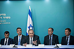 (From L-R) Amnon Shashua co-founder and CTO of Mobileye, Israeli Economy Minister Eli Cohen, Israeli Prime minister Benjamin Netanyahu, Intel CEO Brian Krzanich and fellow co-founder of Mobileye Ziv Aviram give a press conference at the Prime Minister's Office in Jerusalem on March 14, 2017. US giant Intel announced it would buy Israeli car tech firm Mobileye for more than $15 billion (14 billion euros), the largest cross-border tech deal in the Jewish state's history. Photo by: JINIPIX