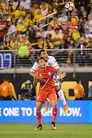 East Rutherford, NJ - Friday June 17, 2016: Paolo Guerrero, Jeison Murillo after a Copa America Centenario quarterfinal match between Peru (PER) vs Colombia (COL) at MetLife Stadium.