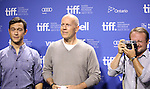 Joseph Gordon-Levitt, Bruce Willis and Director Rian Johnson attending the The 2012 Toronto International Film Festival Photo Call for 'Looper' at the TIFF Bell Lightbox in Toronto on 9/6/2012