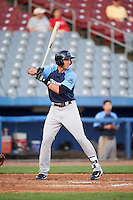 Trenton Thunder right fielder Lane Adams (6) at bat during the second game of a doubleheader against the Hartford Yard Goats on June 1, 2016 at Sen. Thomas J. Dodd Memorial Stadium in Norwich, Connecticut.  Trenton defeated Hartford 2-1.  (Mike Janes/Four Seam Images)