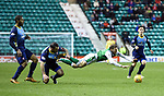 03.04.2018 Hibs v Hamilton <br /> Dougie Imrie sent off for a second booking after bringing down Martin Boyle