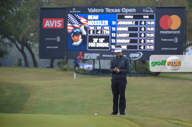 Beau Hossler (USA) lines up his putt on 1 during Round 3 of the Valero Texas Open, AT&T Oaks Course, TPC San Antonio, San Antonio, Texas, USA. 4/21/2018.<br /> Picture: Golffile | Ken Murray<br /> <br /> <br /> All photo usage must carry mandatory copyright credit (© Golffile | Ken Murray)