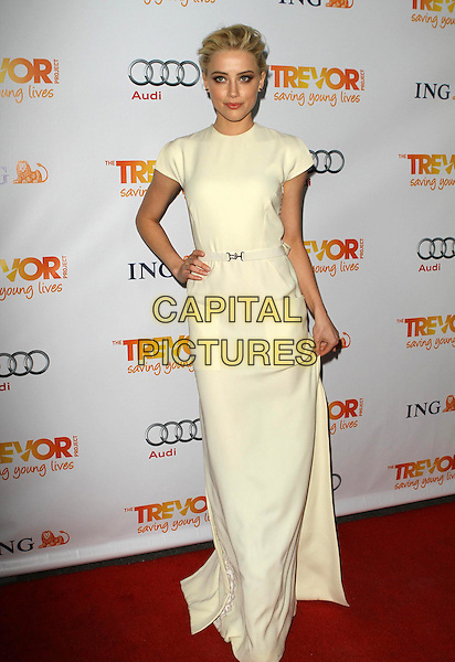 Amber Heard.Trevor Live at The Hollywood Palladium in Hollywood, California, USA..December 4th, 2011.full length dress sleeveless white cream hand on hip .CAP/ADM/KB.©Kevan Brooks/AdMedia/Capital Pictures.