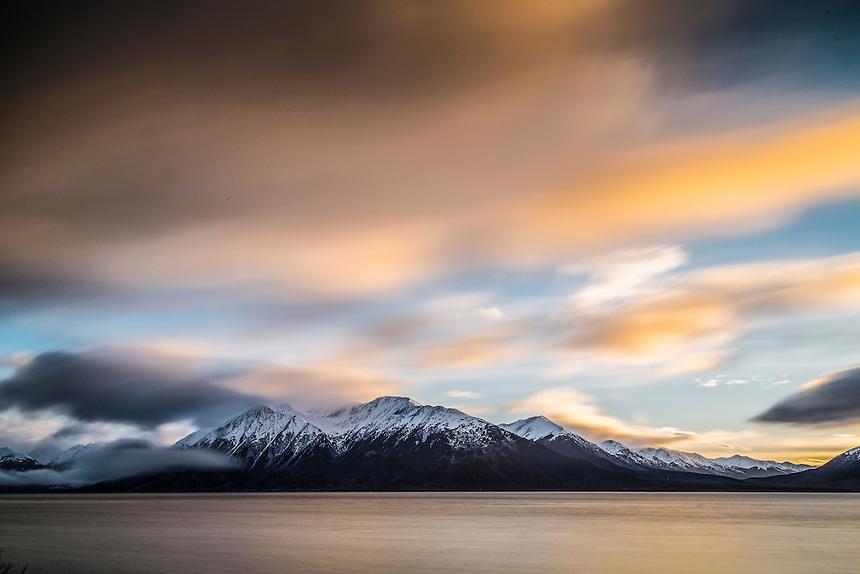 winter landscape of Turnagain Arm with Kenai Mountains.  Alaska 2014<br /> stock