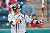 Nick Rountree (13) at bat during the NCAA matchup between the University of Arkansas-Little Rock Trojans and the University of Oklahoma Sooners at L. Dale Mitchell Park in Norman, Oklahoma; March 11th, 2011.  Oklahoma won 11-3.  Photo by William Purnell/Four Seam Images