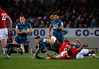 Ihaia West takes a pass from Sonny Bill Williams in the buildup to his matchwinning try during the 2017 DHL Lions Series rugby union match between the Blues and British & Irish Lions at Eden Park in Auckland, New Zealand on Wednesday, 7 June 2017. Photo: Dave Lintott / lintottphoto.co.nz