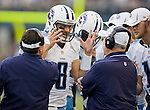 Tennessee Titans' quarterback Matt Hasselbeck shows his frustration during a time out against the Seattle Seahawks defensive unit in a pre-season game at CenturyLink Field in Seattle, Washington on August 11, 2012. ©2012. Jim Bryant Photo. All Rights Reserved...